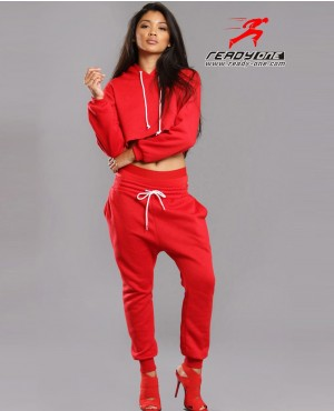 Ladies Red Hot and Sexy Sweatsuit with Crop Top