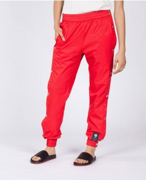 Ladies Red Sweatpant with Buttons on the Sides