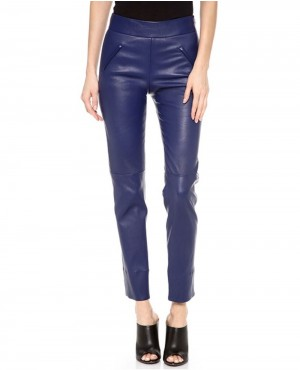 Ladies Royal Blue Leather Pant