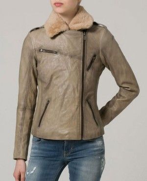 Ladies Shearling Leather Jacket