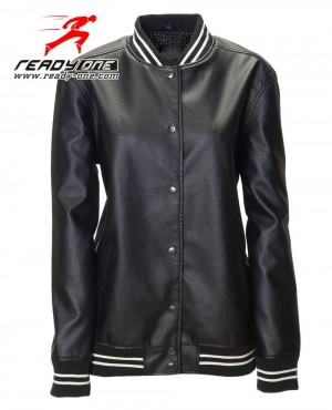 Ladies PU Leather Custom Varsity Jacket