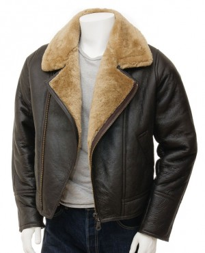 Latest Design Men Winter Shearling Cheap Leather Motorcycle Jacket