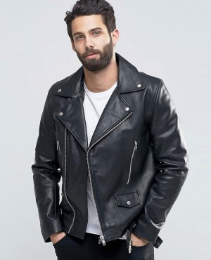 Leather Biker Jacket With Belt in Black