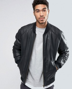 Leather Bomber Jacket in Black