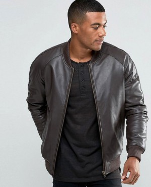 Leather Bomber Jacket in Brown
