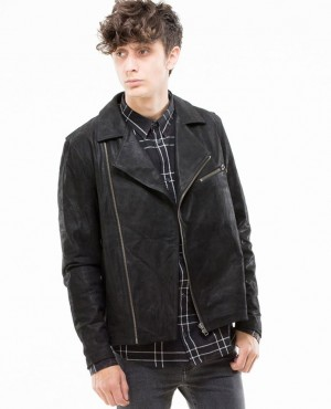 Leather Jacket with Bomber Style Collar