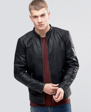 Leather Jacket with Stitch Shoulder Panel