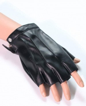 Leather Men Half Finger Gloves