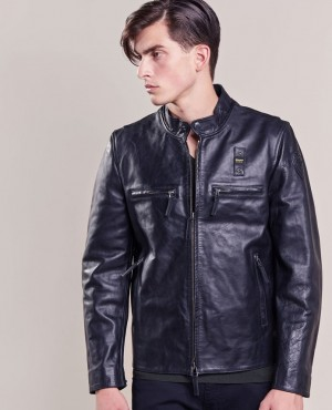 Leather Zipper Black Collar Men Motorcycle Leather Jacket