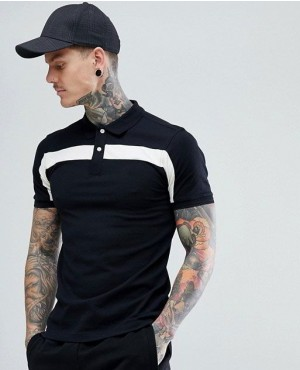 Letest-Style-White-Panel-Polo-Shirt-In-Black-RO-2253-20-(1)