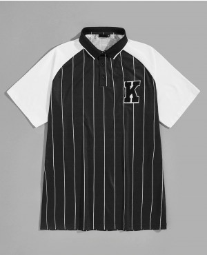 Letter Patched Vertical Striped Baseball Two Tone Polo Shirt