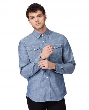 Light Blue Denim Chambray Button Down Shirt