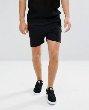 Lightweight Jersey Short With Velour Cord Panels