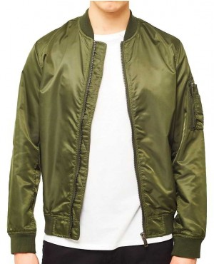 Lightweight Silk Nylon Bomber Jacket with Sleeve Pocket