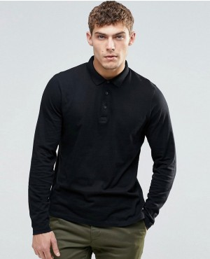Long Sleeve Jersey Polo In Black