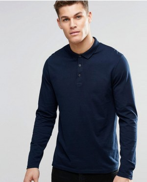 Long Sleeve Jersey Polo In Navy