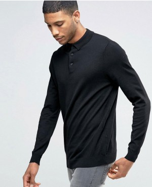 Long Sleeve Knitted Polo Shirt In Black