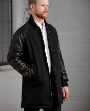 Long Sleeve Lettermen Wool & Leather Varsity Jacket