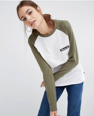 Long Sleeve Raglan T-Shirt With Woven Logo Badge
