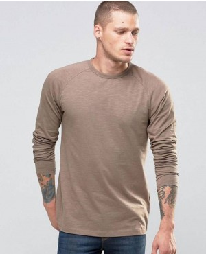 Long Sleeve Top In Beige Neutral Men T Shirts