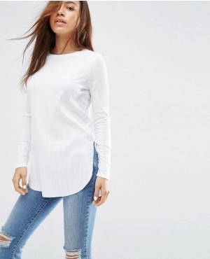 Long Sleeve Top with Side Splits and Curve Hem