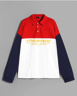 Long Sleeves Color Block Letter Polo Shirt
