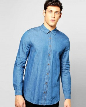 Longline Curved Hem Denim Shirt