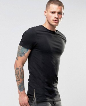 Longline Muscle T-Shirt With Side Zips In Black