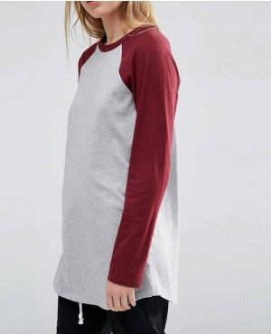 Longline T-Shirt With Contrast Sleeve