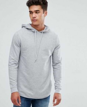 Longline Muscle Hoodie With Curved Hem