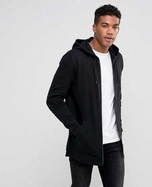 Longline Zip Up Hoodie In Black