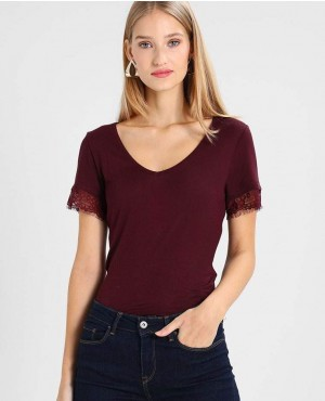 Maroon T Shirt With Lace Sleeves