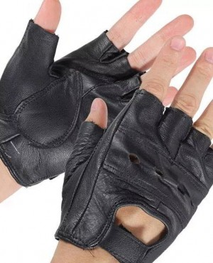 Medium Fingerless Leather Motorcycle Glove Vented Cowhide Multi Use