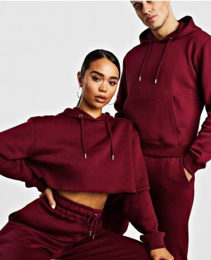 Men and Women Embroidered Crop Hoodie Tracksuit