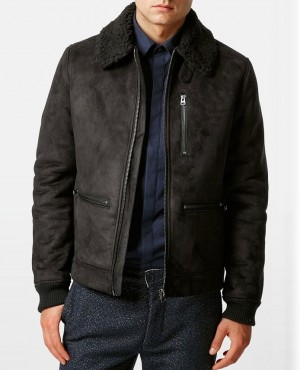Men Best Seling Shearling Custom Jacket Faux Suede Flight Jacket