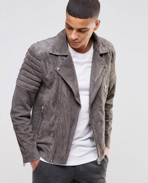 Men Biker Genuine Suede Leather Slim Fit Jackets