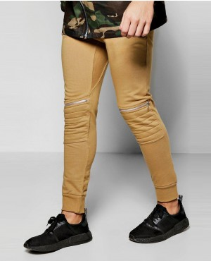 Men Biker Knee Zip Up Joggers