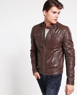 Men Biker Style in Bomber Leather Jacket