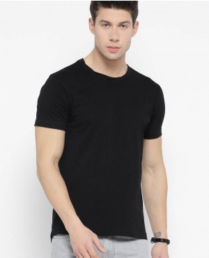 Men Black Applique Detail Round Neck T Shirt