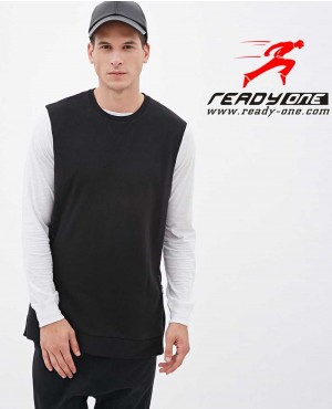 Men Black Body Sleeveless Hoodie with Side Zipper