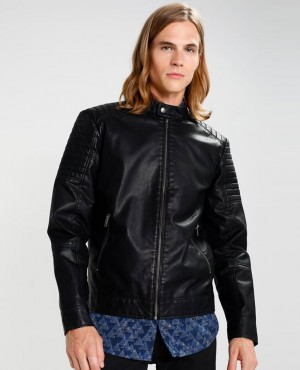 Men Black Faux Leather Jacket