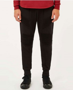 Men Black Ribbed Jogger