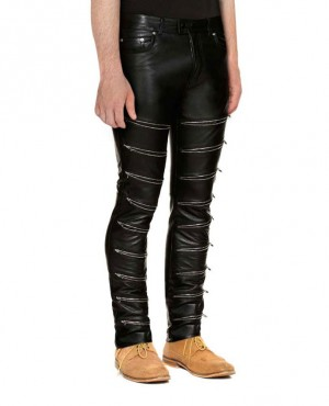 Men Black Skinny Leather Pant With Multiple Custom Zipper Front