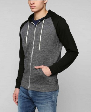 Men Black Sleeves Zipper Hoodie