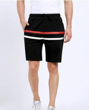 Men Black Striped Slim Fit Regular Shorts