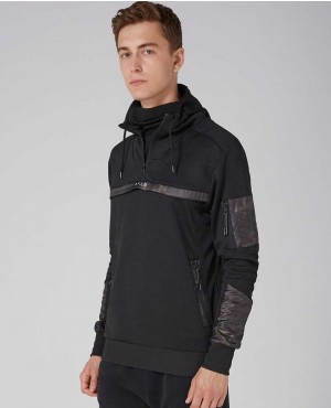 Men Black Towelling Piping Hoodie
