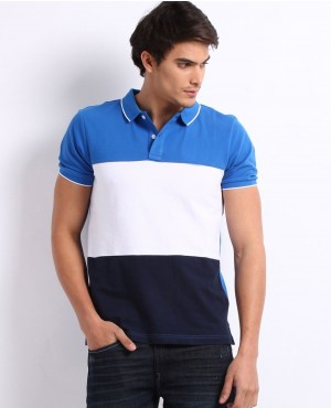 Men Blue And White Striped Polo T Shirt
