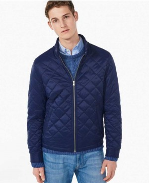 Men Blue Padded Puffer Style Jacket