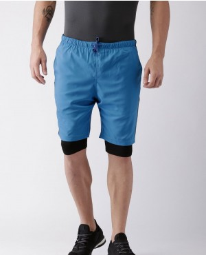 Men Blue Solid Go Dry Training Shorts with inbuild Tights