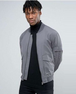 Men Bomber In Grey Mid Denim Coats